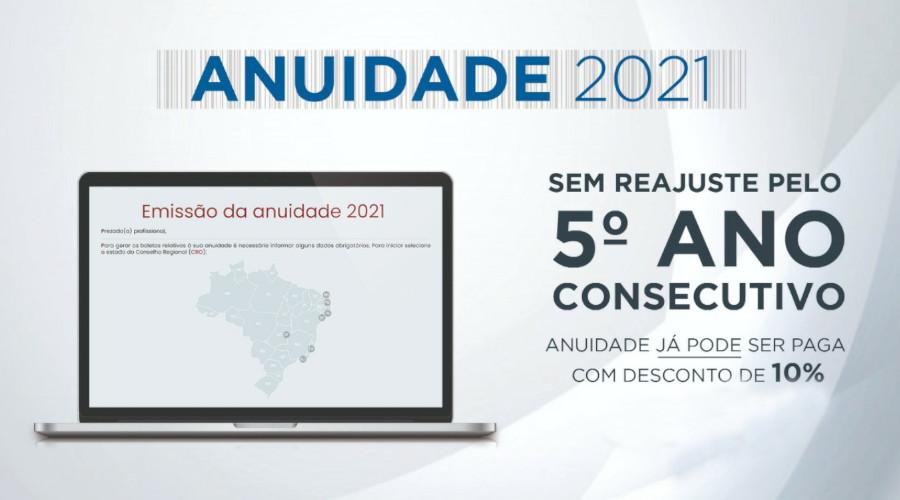ANUIDADE 2021: SEM REAJUSTE PELO 5º ANO CONSECUTIVO, JÁ PODE SER PAGA COM DESCONTO DE 10%