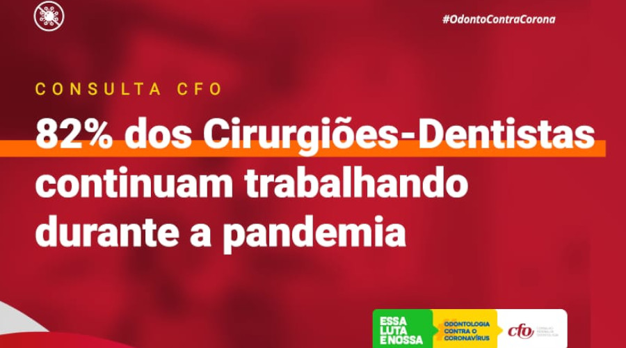 CONSULTA DO CFO REVELA QUE 82% DOS CIRURGIÕES-DENTISTAS ENTREVISTADOS CONTINUAM TRABALHANDO DURANTE A PANDEMIA